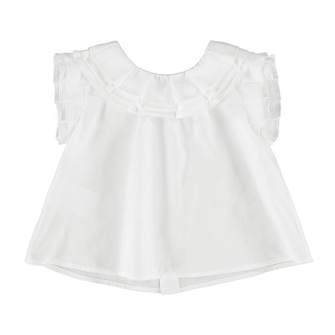 Satin poplin blouse-white