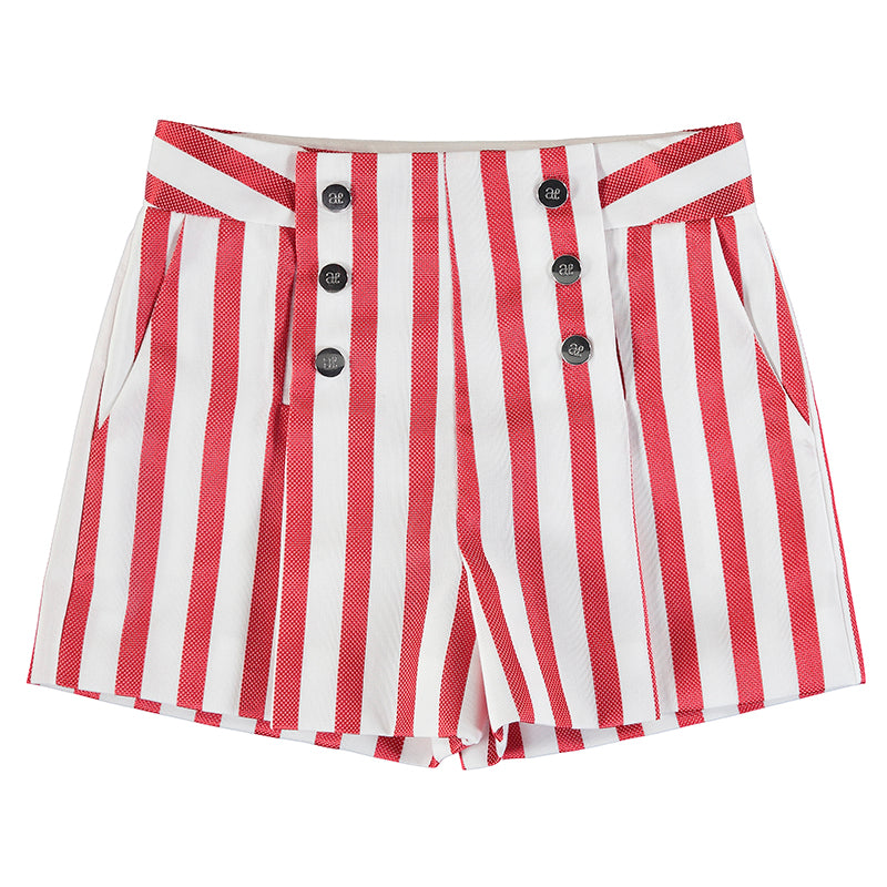 Striped bermuda shorts-red