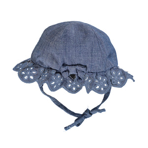 Ruffle Hat-washed denim