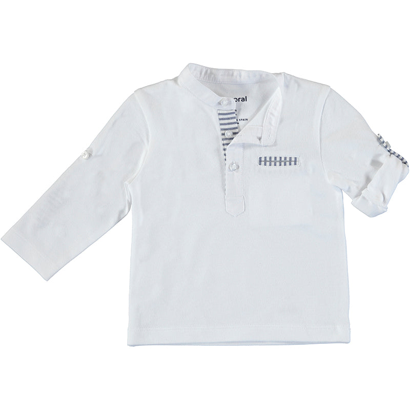 l/s mao shirt-white