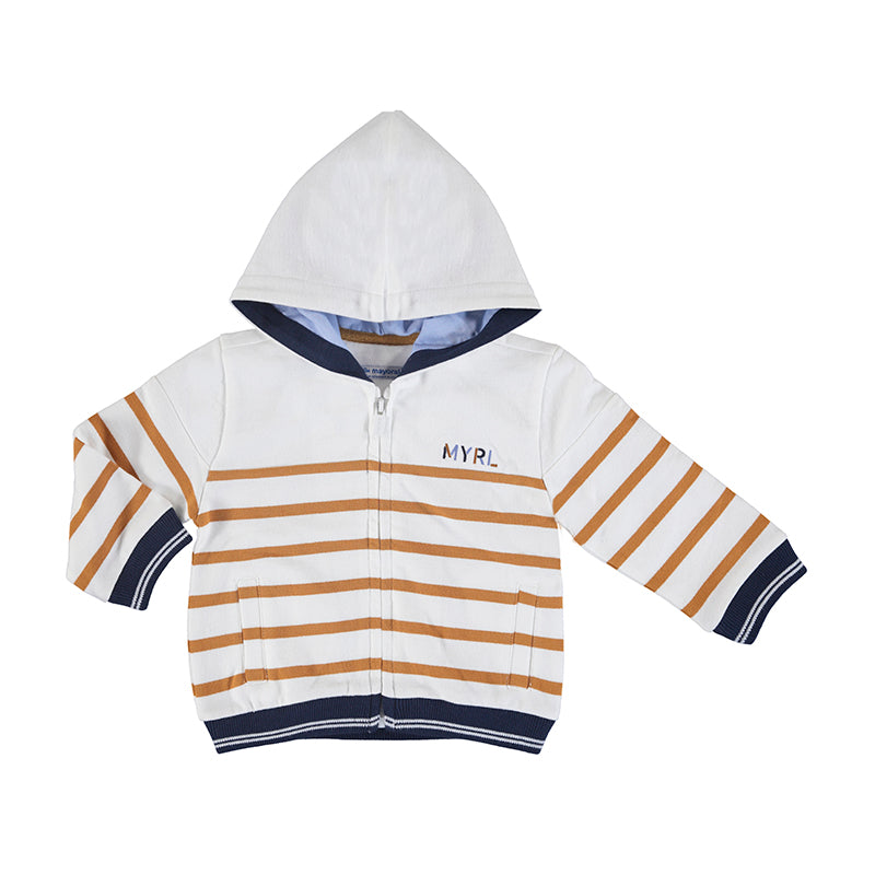 Striped zip hoody-caramel