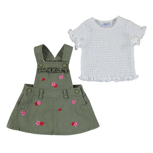 embroided skirt overall set-moss