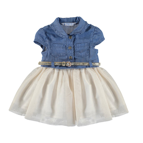 Denim dress w/tulle skirt