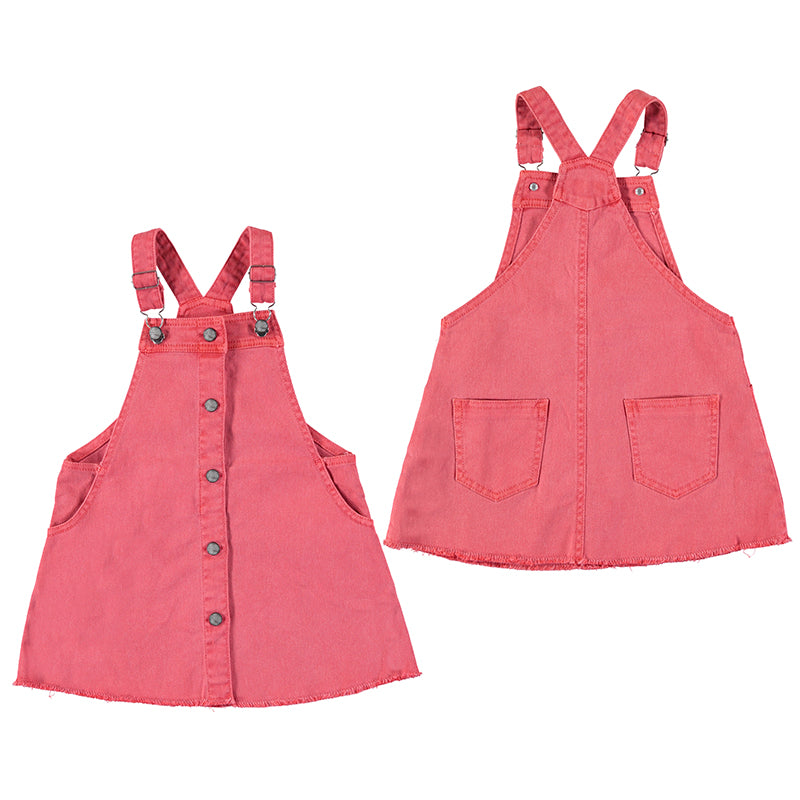 Twill dungaree dress-coral