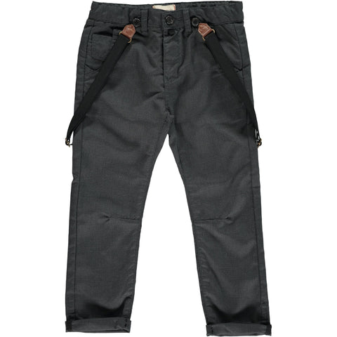Black dogtooth woven trousers w/suspenders