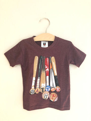 BATTER UP S/S TEE/MAROON BLEND