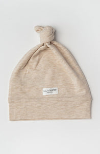 Top Knot Beanie in TENCEL™ - Heather Oatmeal