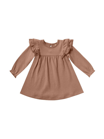 Longsleeve Flutter Dress/Clay