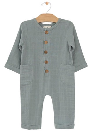 Muslin Pocket Romper-Stillwater Blue