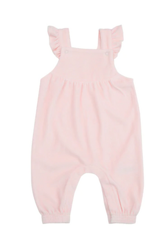 Velour Ruffle Overall Pink