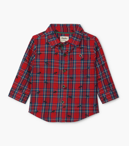Holiday Plaid Moose Baby Button Down Shirt