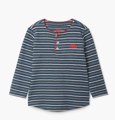 Winter Stripe Long Sleeve Henley