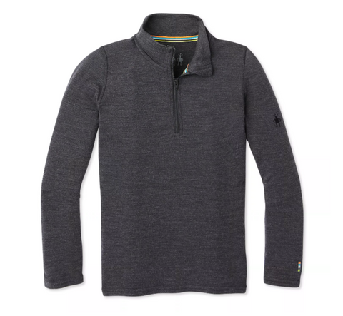Kids' Merino 250 Base Layer Zip T-Charcoal