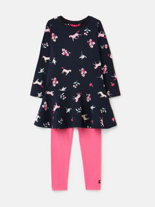 Iona Long Sleeve Dress And Leggings Set-Navy Unicorn