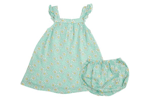 Flower Power Sundress/Diaper Cover Mint