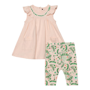 Dress And Capri Set-Peach Pea
