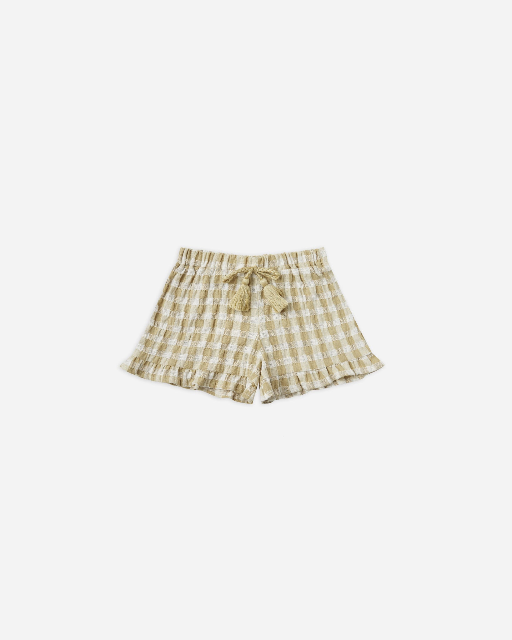 cardiff ruffle short || butter gingham