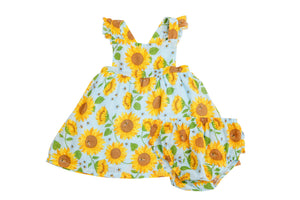 Sunflowers Pinafore Top And Bloomer Whispering Blue