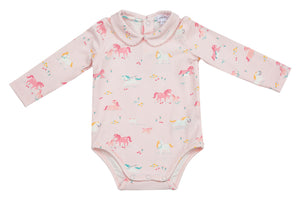 Girl Ponies Peter Pan Collar Onesie
