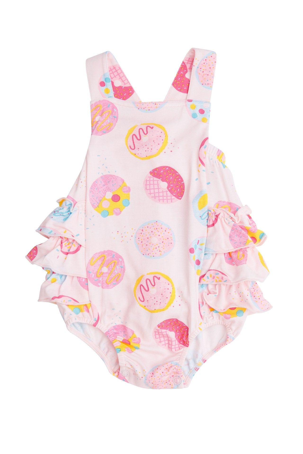 Donuts Ruffle Sunsuit Pink