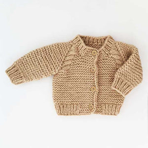 Latte Garter Stitch Cardigan Sweater