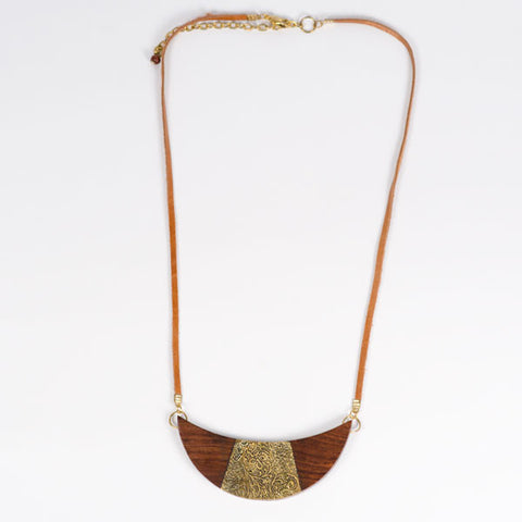 Earth & Fire Crescent Necklace - India | Fair Trade