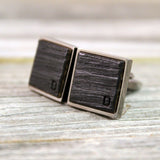 Personalized Bourbon Barrel Cufflinks in Square Stainless Steel Bezel