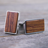 Honduras Rosewood Cufflinks - Wooden Handcrafted Cuff links