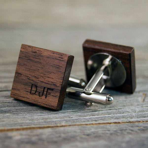Personalized American Walnut Cufflinks - Perfect gift for the Groom and Father of the Bride!