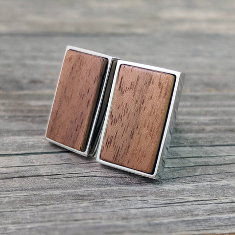 Rectangular Walnut Wood Cufflinks in Stainless Steel Bezel - Great for Father's Day!
