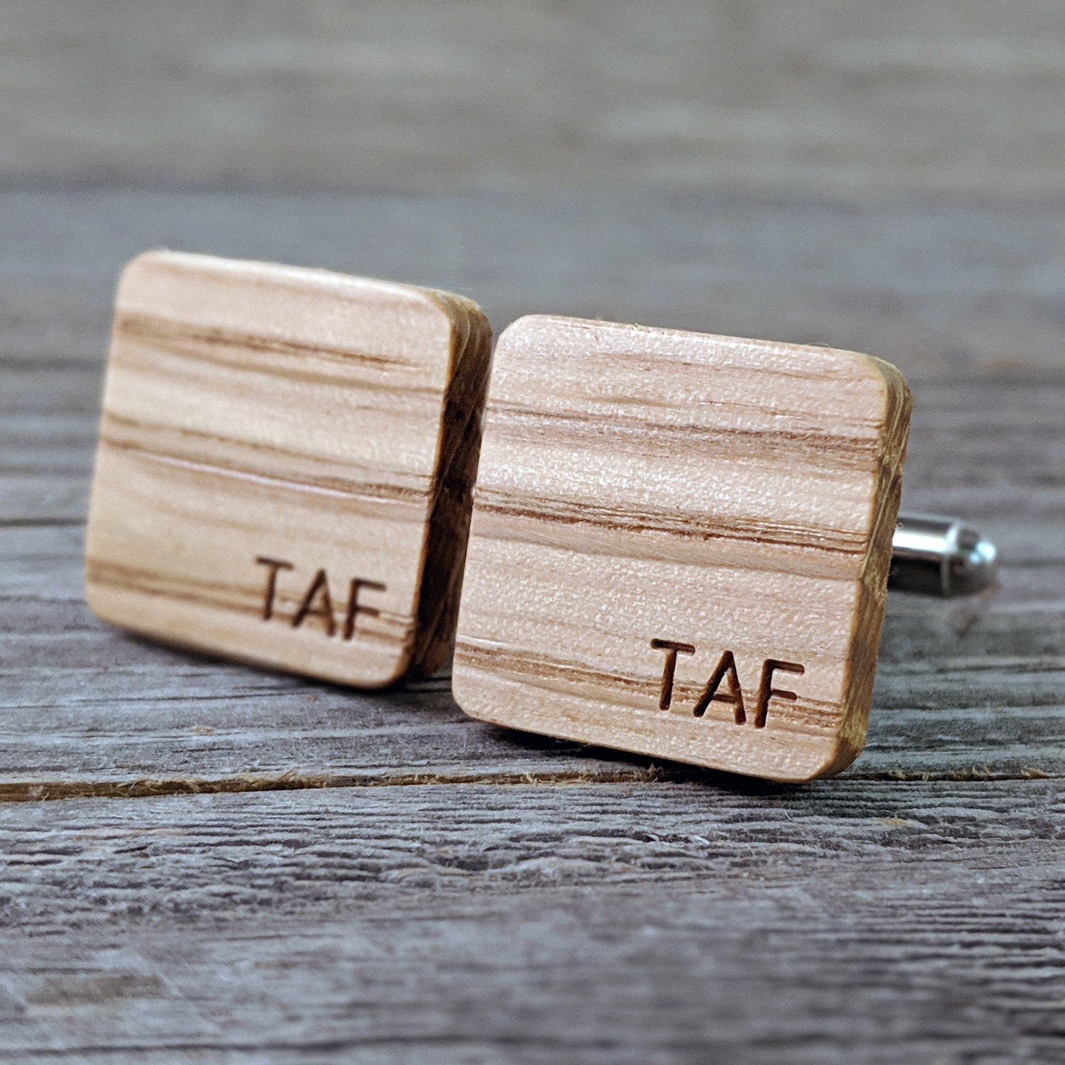 Monogrammed Bourbon Barrel Wood White Oak Cufflinks