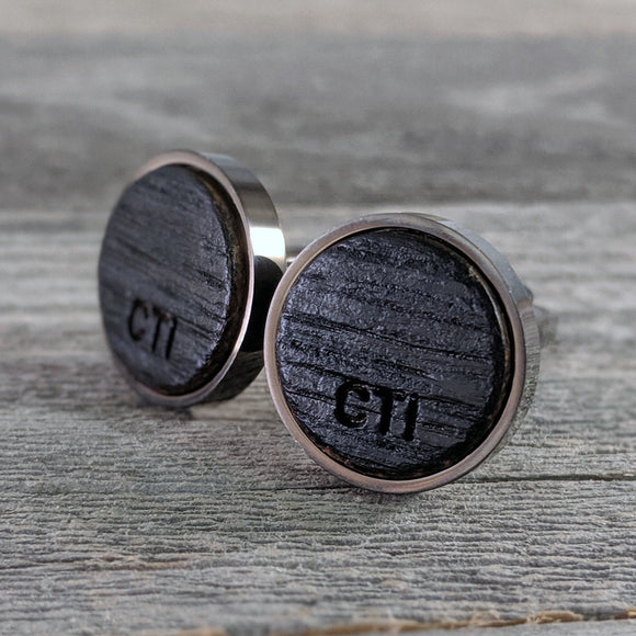 Bourbon Barrel Cufflinks Personalized with Initials