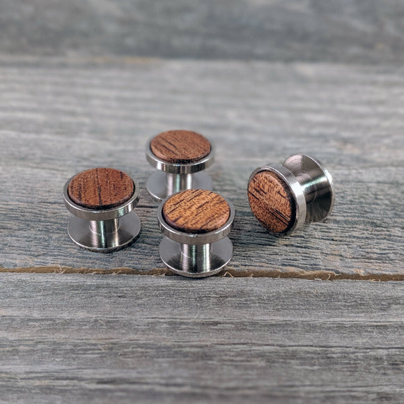 Hawaiian Koa Wood Shirt Stud Set