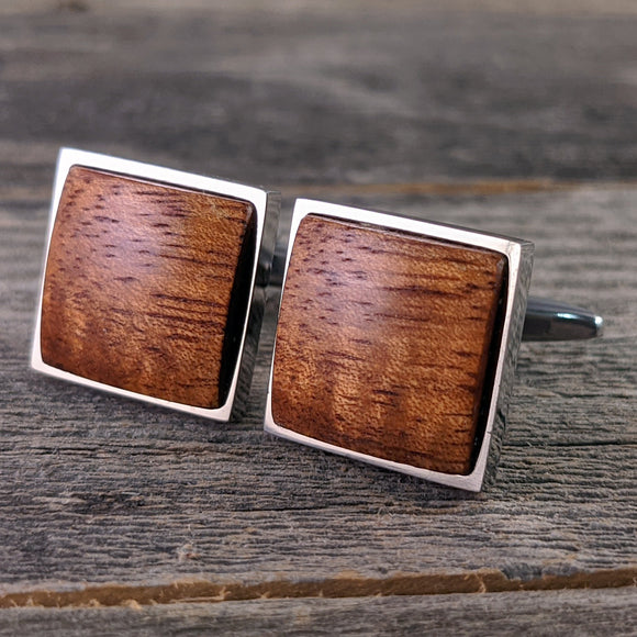 Wooden Cufflinks Crafted Hawaiian Koa in Stainless Steel