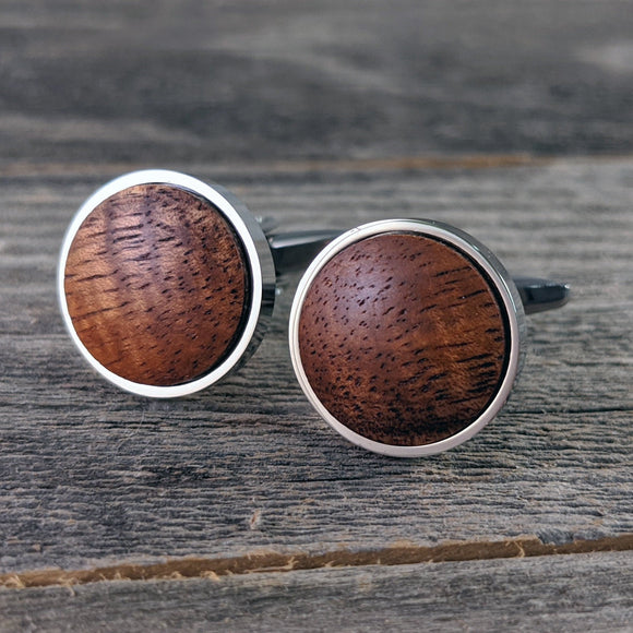 Silver Cufflinks - Hawaiian Koa Thin Bezel cuff links - Also available in Gunmetal!