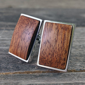 Hawaiian Wood Cufflinks - Curly Old Growth Hawaiian Koa in Silver Bezel