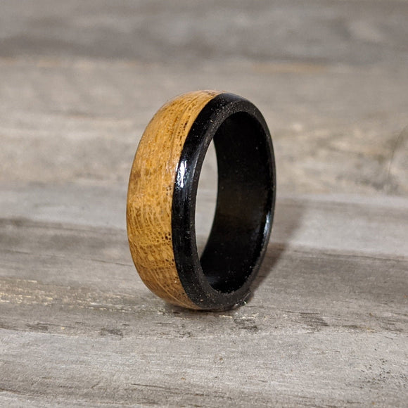 Bourbon Barrel Ring with Gabon Ebony Accent and Comfort Fit Interior