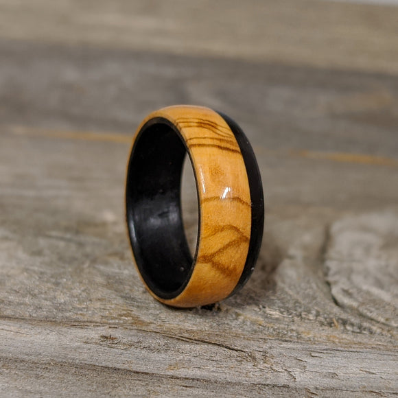 Olivewood Wedding Band with Gabon Ebony Strip Wooden Ring for Men