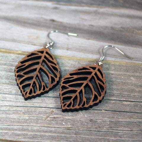 Wooden Earrings / Wooden Leaf Dangle Earrings / Bridesmaid Earrings / Leaf Earrings / Lightweight Nature Leaves from Wood / Hypoallergenic