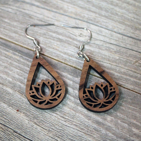 Wooden Lotus Flower Dangle Earrings / Bridesmaid Earrings / Teardrop Earrings / Lightweight Lotus Flower from Wood / Hypoallergenic