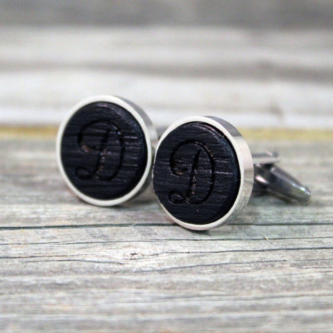 Monogram Cufflinks Crafted from a Bourbon Barrel/Groomsmen Cufflinks/Groomsmen Gift/Custom Cufflinks/Personalized/Wedding Gift