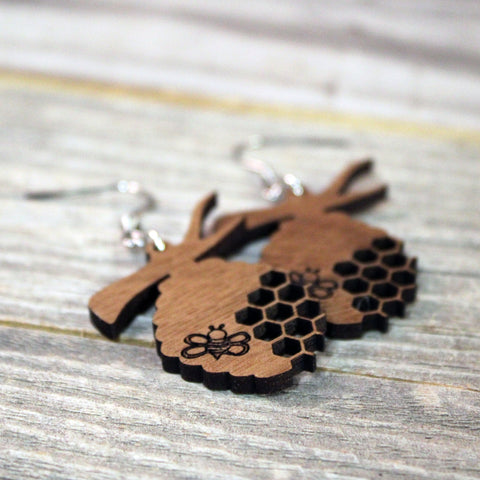 Wooden Beehive Earrings with Hypoallergenic Stainless Steel Hooks Crafted from American Black Walnut