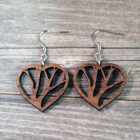 Wooden Heart Earrings/Bridesmaid Earrings/Tree Themed Earrings/Lightweight Hear Earrings from Wood/Hypoallergenic Stainless Steel