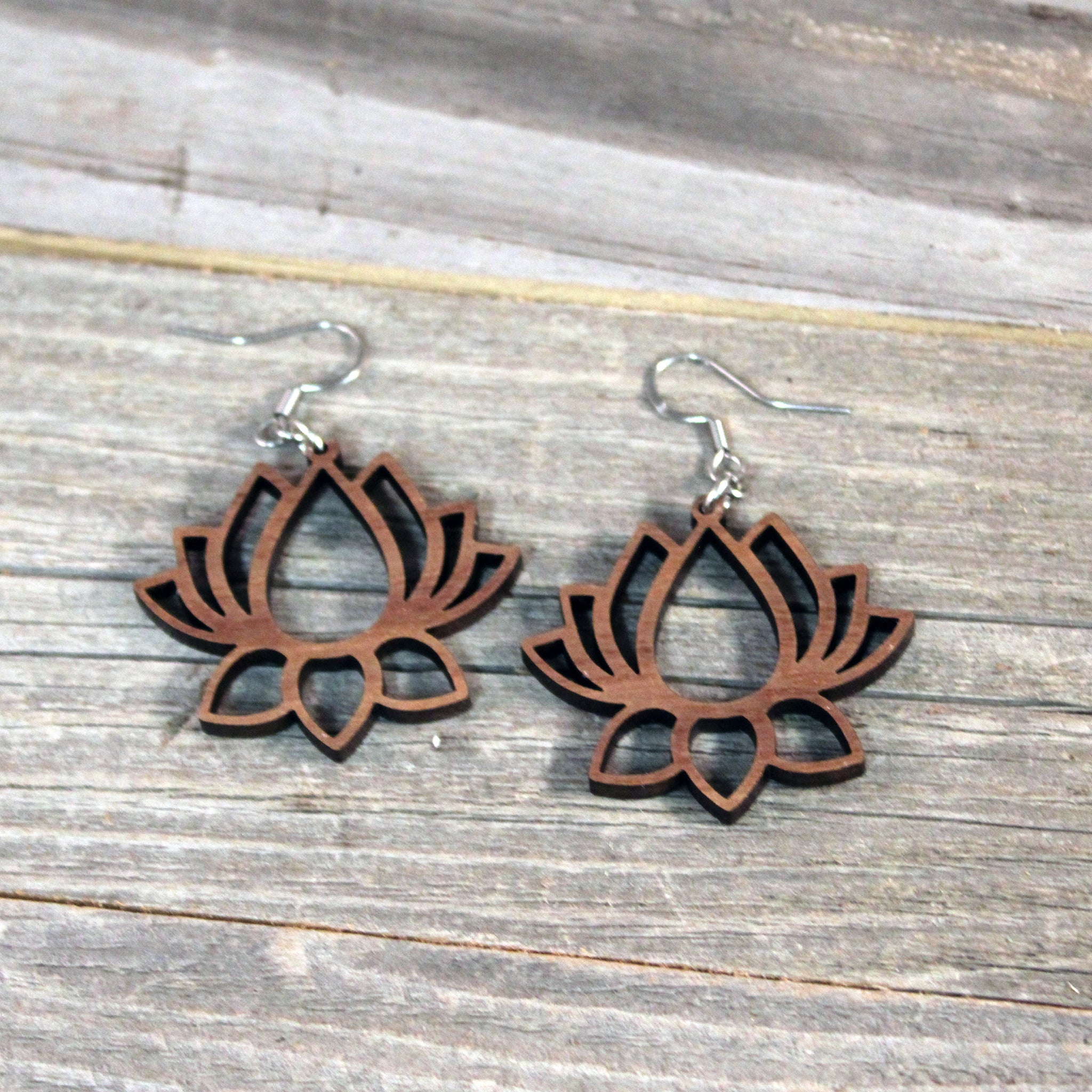 Wooden Earrings/Lotus Flower Dangle Earrings/Bridesmaid Earrings/Lightweight Lotus Flower from Wood/Hypoallergenic Stainless Steel