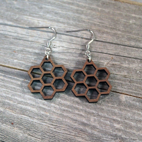 Lightweight Wooden Honeycomb Earrings with Hypoallergenic Stainless Steel Hooks Crafted from American Black Walnut