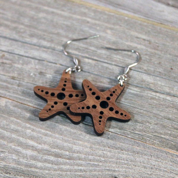 Wooden Starfish Earrings/Lightweight Sea Star Earrings/Hypoallergenic Stainless Steel and American Walnut Wood