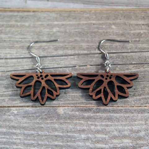 Wooden Sunflower Dangle Earrings with Hypoallergenic Stainless Steel Hooks Crafted from American Black Walnut