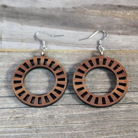 Hoop Earrings/Wooden/Hypoallergenic Stainless Steel Hooks Crafted from American Black Walnut/Wedding/Mothers Day Earrings