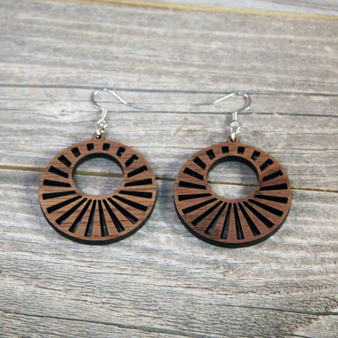 Wood Hoop Earrings/Wooden Earrings/Hypoallergenic Stainless Steel Hooks Crafted from American Black Walnut/Wedding/Mothers Day