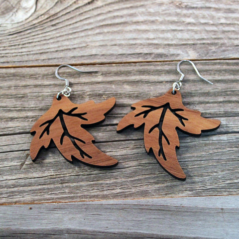Wooden Dangle Earrings/Big Wooden Earrings/Boho Earrings/Leaf Earrings/Earrings from Wood/Hypoallergenic/Lightweight